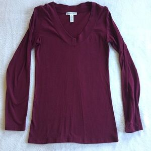 Ambiance Burgundy V-neck Long Sleeve Shirt